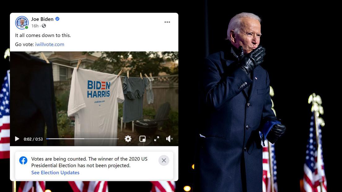 Facebook coloca una etiqueta de advertencia en una publicación de Biden en la que el candidato asegura que ganará las elecciones
