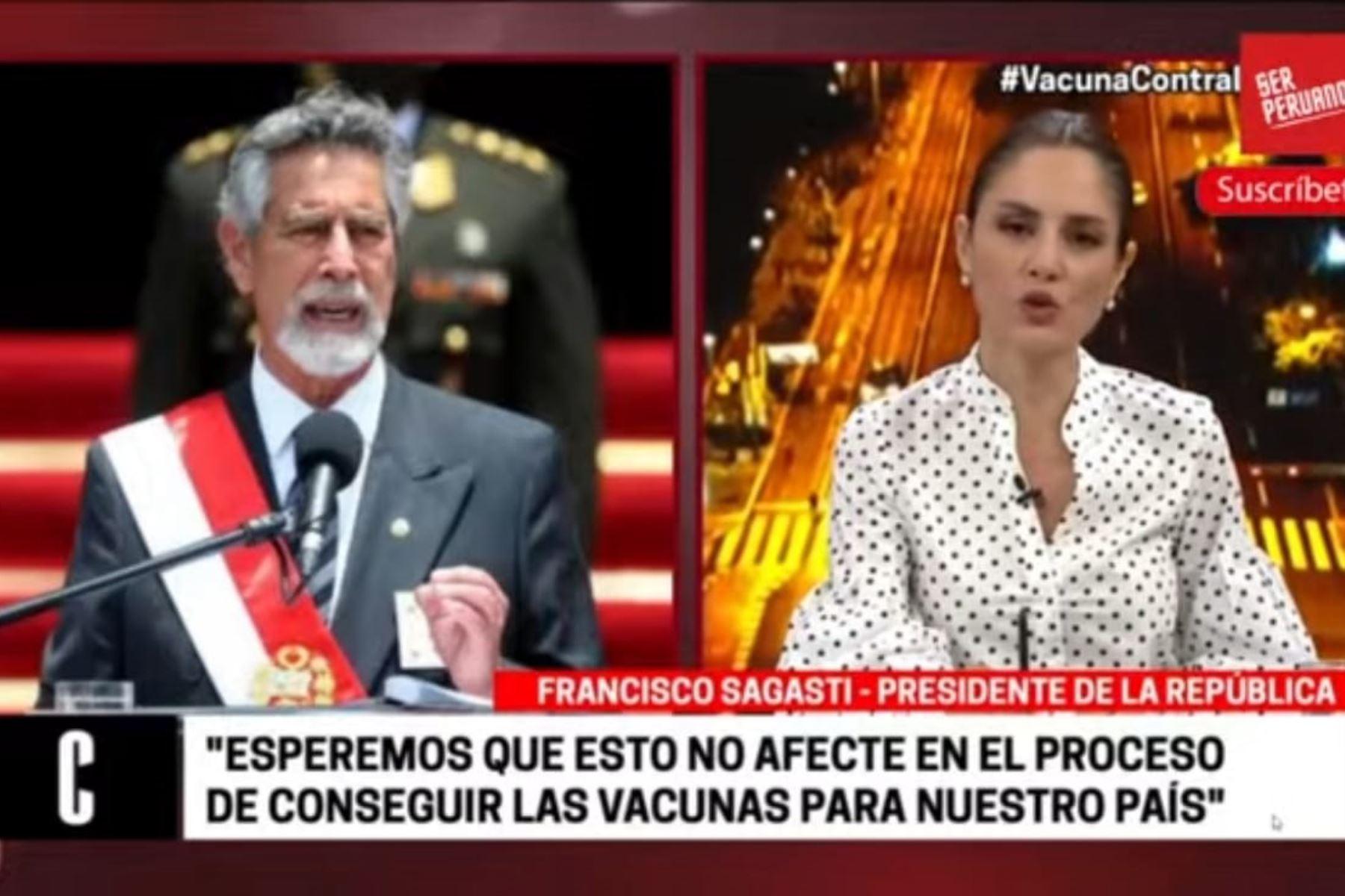 Presidente Sagasti expresa su indignación por caso de funcionarios vacunados