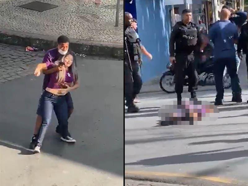 VIDEO: Ladrón tomó de rehén a una mujer y policías le dispararon