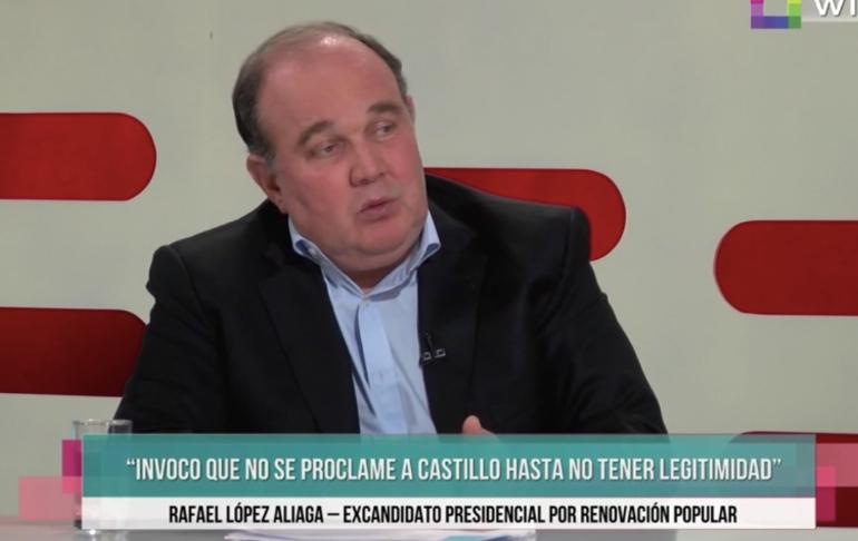 """Rafael López Aliaga: """"Invoco al JNE a que no proclame a Pedro Castillo porque no tiene legitimidad"""""""